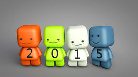 2015 New Year concept. With 3D cartoon characters illustration Stock Images