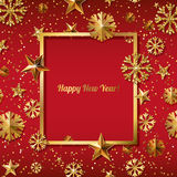 New Year concept. 3d gold stars and snowflakes with square frame on red background. Vector illustration. Stock Image
