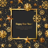 New Year concept. 3d gold stars and snowflakes with square frame. Vector illustration. New Year concept. 3d gold stars and snowflakes with square frame on black vector illustration