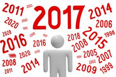 2017 New Year concept. 2017 - 3D graphics about New Year, time etc Royalty Free Illustration