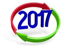 2017 New Year concept. 2017 - 3D graphics about New Year, time etc Vector Illustration