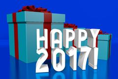 2017 New Year concept. 2017 - 3D graphics about New Year, time etc Stock Photos