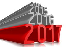 2017 New Year concept. 2017 - 3D graphics about New Year, time etc Royalty Free Stock Photos
