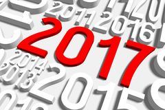 2017 New Year concept. 2017 - 3D graphics about New Year, time etc Stock Photography