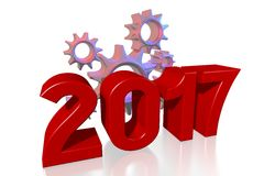 2017 New Year concept. 2017 - 3D graphics about New Year, time etc Royalty Free Stock Image