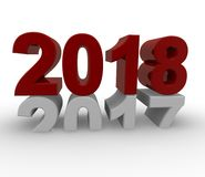 New Year 2018 concept 3d image. On a white background, 3d rendering Stock Illustration
