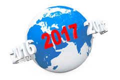 New Year Concept. 3d number 2017 around Earth Globe. 3d Renderin Royalty Free Stock Images