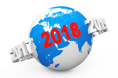 New Year Concept. 3d number 2018 around Earth Globe. 3d Renderin. New Year Concept. 3d number 2018 around Earth Globe on a white background. 3d Rendering Stock Image
