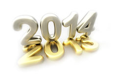 New year 2014 concept - 3d render. 2014 new year golden and silver logo on white background Stock Photos