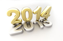 New year 2014 concept - 3d render. 2014 new year golden and silver logo on white background vector illustration