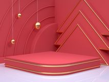 New year concept 3d rendering gold sphere red scene wall floor corner abstract minimal christmas holiday stock illustration