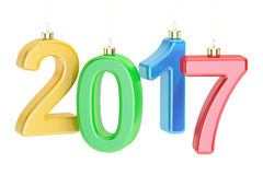 New Year 2017 concept, 3D rendering. On white background Royalty Free Stock Photography