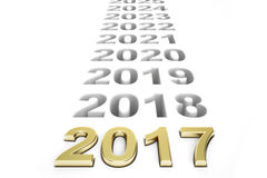 New Year 2017 concept, 3D rendering Royalty Free Stock Image
