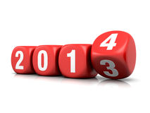 New year 2014. Concept with dice on the white background (3d render Royalty Free Illustration