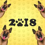 New 2018 year concept. Dog is symbol Chinese zodiac of new 2018 year. Chinese calendar for the new year of Dog 2018. Vector illust. Ration. Eps 10 Stock Photo