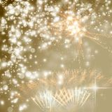 New Year concept. Fireworks at New Year and copy space - abstract holiday background Royalty Free Stock Images