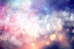 New Year concept. Fireworks at New Year and copy space - abstract holiday background Royalty Free Stock Photos
