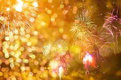 New Year concept. Fireworks at New Year and copy space - abstract holiday background Royalty Free Stock Photography