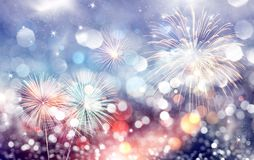 New Year concept. Fireworks at New Year and copy space - abstract holiday background Stock Photo