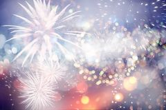 New Year concept. Fireworks at New Year and copy space - abstract holiday background Royalty Free Stock Image