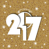 New Year 2017 concept on golden shining rounds background Stock Images