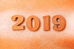 New year concept. Happy New Year Banner with Gold 2019 Numbers. Creative background 2019. stock image