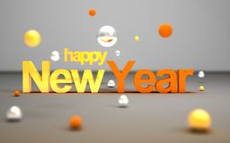 New year concept. Happy new year textnear flying colorful balls. New year concept. 2018 sign near flying colorful balls on grey background. 3D illustration Stock Photography