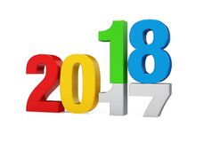 New Year 2018 Concept Isolated. On white background. 3D render Stock Photography