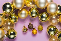 Christmas decorations, New year glass ornaments Royalty Free Stock Photo