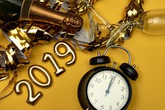 New year concept. Number 2019 with clock royalty free stock photo