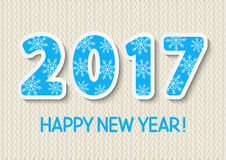 New Year concept with 2017 number. On knitted wool background Royalty Free Stock Images