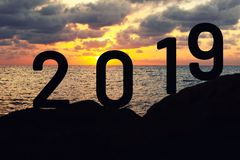 New Year Concept with number 2019 stock images