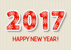 New Year concept with 2017 number. On wool background Royalty Free Stock Images
