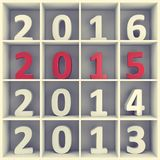 New year concept. Numbers in book shelf. 2015 new year concept. White and red number characters placed on white square book shelf Stock Image