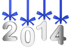 2014 new year concept. Numbers hanging on nice bows Royalty Free Stock Photography