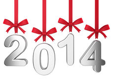 2014 new year concept. Numbers hanging on nice bows Stock Photography