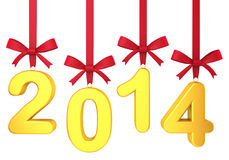 2014 new year concept. Numbers hanging on nice bows Royalty Free Stock Photos