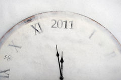 New year concept old vintage clock showing 2011 Stock Photo