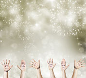 New Year concept with painted hand celebrating Royalty Free Stock Image