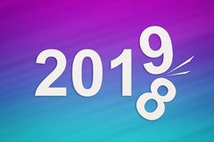 New year concept, paper 2019 changing 2018. Abstract conceptual image. On blue and purple background royalty free illustration