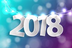 New Year 2018 concept with paper cuted white numbers on realistic Christmas lights decorations on cyan and purple background. For greeting cards. Vector vector illustration