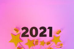 New year 2021 concept on pink background
