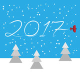 New Year concept - plane left a trace in the form of numbers 2017. Flat vector clip art. Airplane write in the sky vector illustration