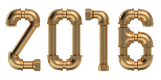 New year 2016 concept with plumbing pipes Stock Photos