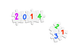New Year Concept. Puzzle and digits as New Year concept Stock Image
