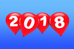 New Year Concept. Red Christmas Balloons with 2018 Sign. 3d Rend. New Year Concept. Red Christmas Balloons with 2018 Sign on a blue sky background. 3d Rendering Royalty Free Stock Image