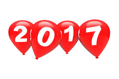 New Year Concept. Red Christmas Balloons with 2017 Sign. 3d Rend. New Year Concept. Red Christmas Balloons with 2017 Sign on a white background. 3d Rendering Stock Images
