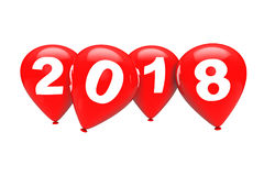 New Year Concept. Red Christmas Balloons with 2018 Sign. 3d Rend Stock Image