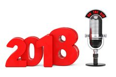 2018 New Year Concept. Red 2018 New Year Sign with Microphone an. D On The Air Sign on a white background. 3d Rendering Stock Image
