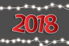 New Year 2018 concept with red paper cuted white numbers on realistic Christmas lights decorations on grey background. For greeting cards. Vector illustration Stock Images